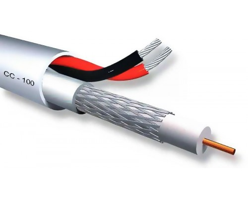 CCTV CC-100 Coaxial Cable 75Ω(ohm) miniRG59 + 2x0,50mm2 Power